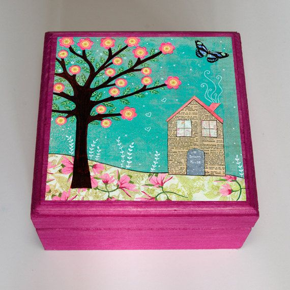 Dream House Jewelry Box Collage House Wooden Trinket Box Collage
