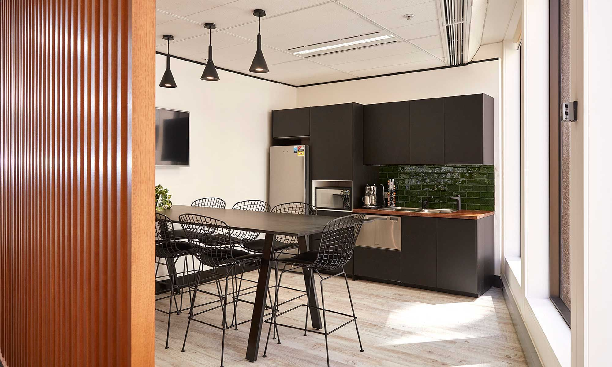 vintage industrial inspired kitchen and breakout area for the sydney