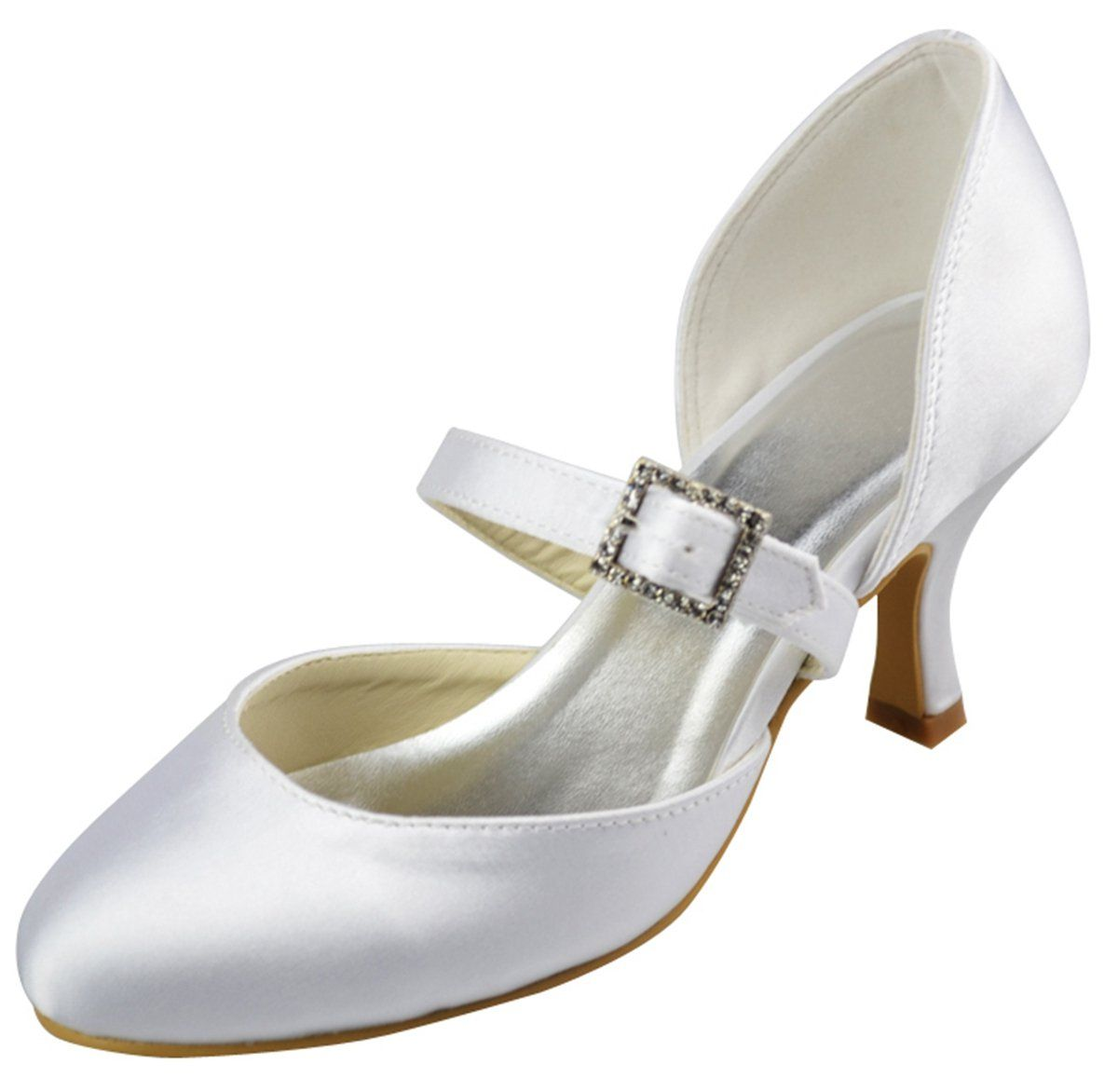 3dfeccca0cb Minitoo GYAYL249 Womens Kitten Heel Closed Toe Ivory Satin Evening Party  Bridal Wedding Mary Jane Shoes 11 M US. Custom-made the heel height and  color