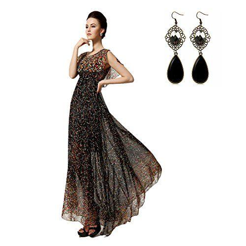 Sitengle Lange Damen Kleider Abendkleider Retro Chiffon Kleid Dress ...
