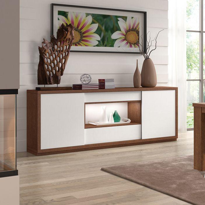 Buffet-bahut contemporain DARIO, coloris blanc et chêne marron
