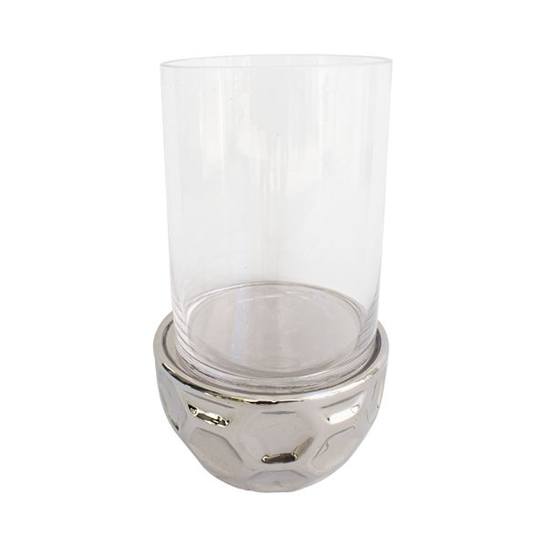 Cylindrical Glass Vase With Chrome Base 10 X 7 X 7 Vases De