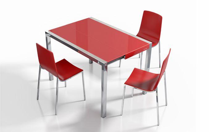Mesa Concept minor, encimera cristal rojo brillo. Sillas Hot ...