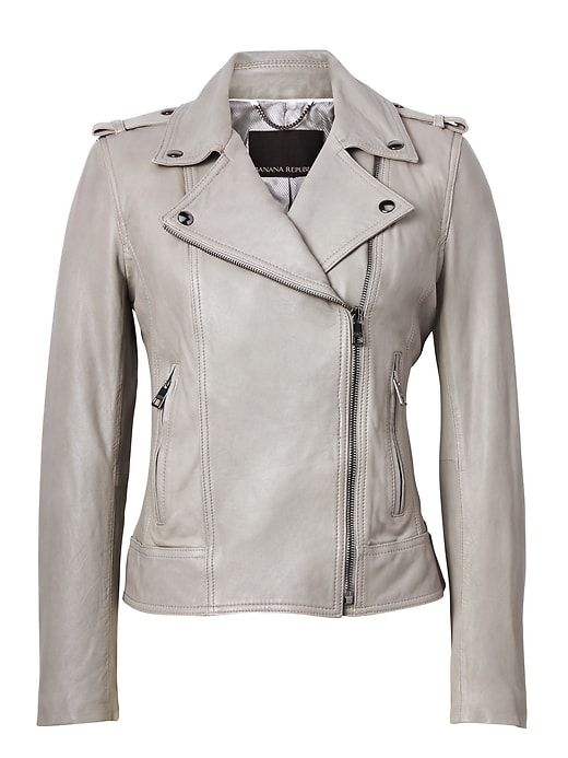 7b53fa652cf Banana Republic Womens Leather Moto Jacket Light Gray