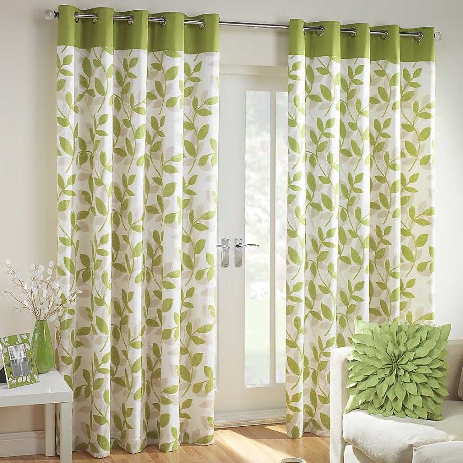 Interior Beautiful Green White Floral Curtain Window With Showy Leaf  Pattern Pillow And Fancy Gray Sofa Astounding Curtain Designs For Windo.