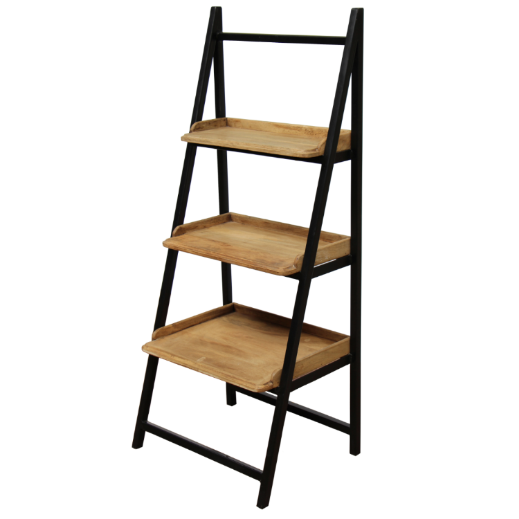Iron Ladder Shelf With Wooden Trays - Black