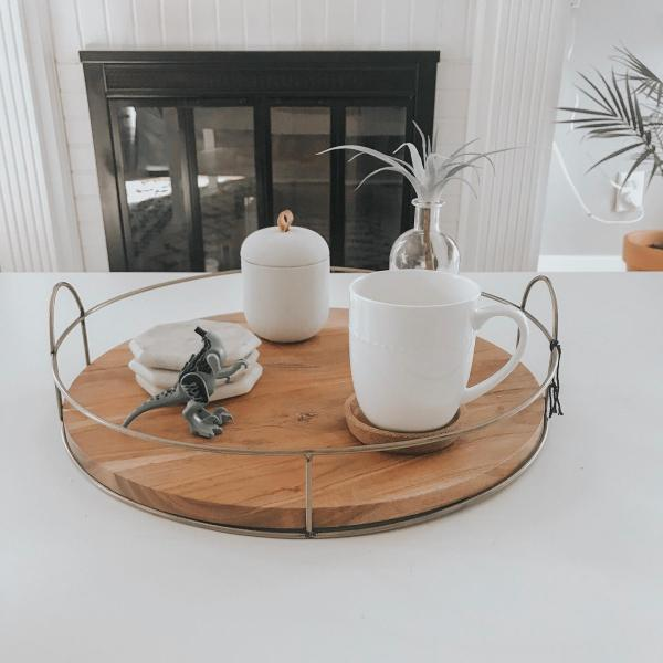 16 Round Wood And Wire Tray Hearth Hand With Magnolia Wood Tray Centerpiece Tray Decor Kitchen Counter Decor