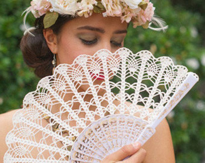 Lace Hand Fan- Ivory Hand Held Fan- Spain Hans Fan- Wedding Bouquet ...