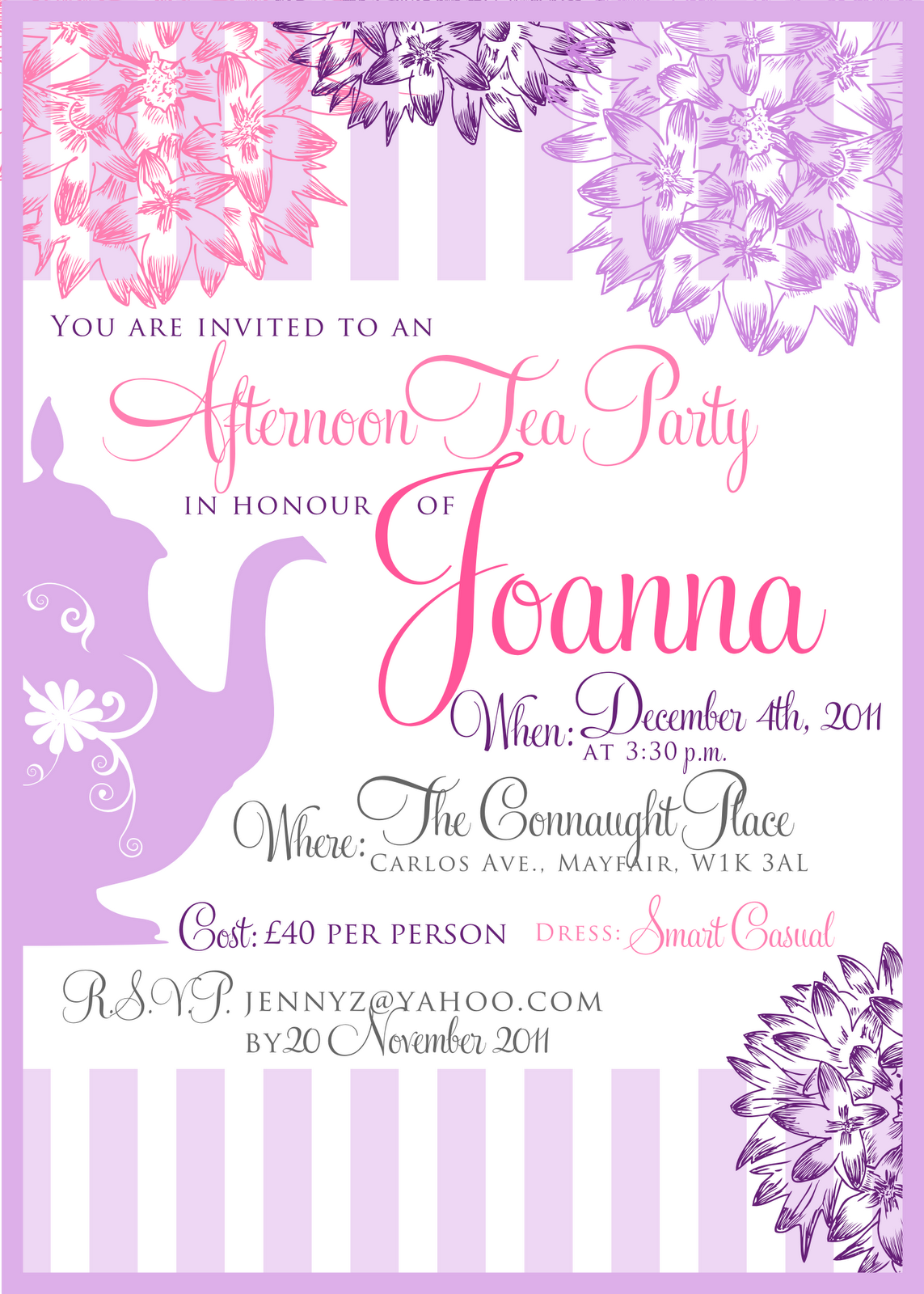 Tea Party Baby Shower Invitation Templates Wall | TEA PARTY ...