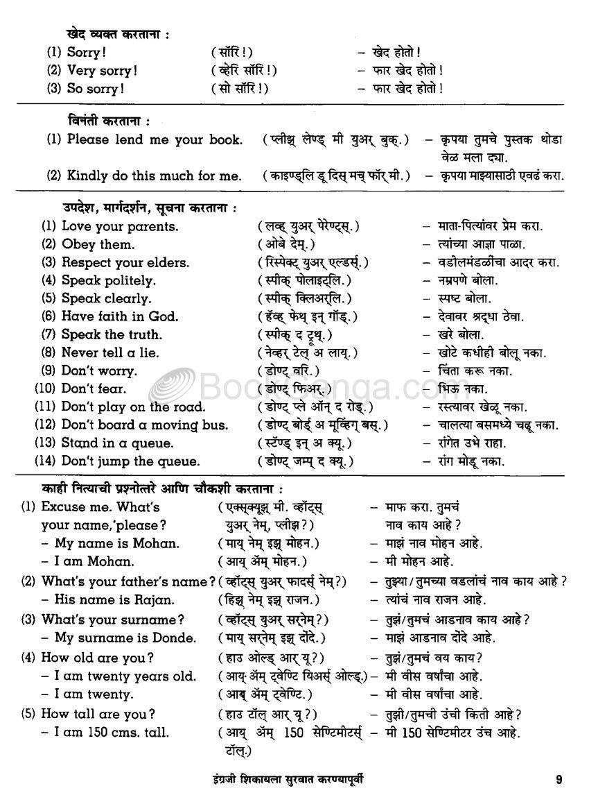 Navneet Speakwell English Marathi English Vocabulary Words Learn English Vocabulary Learn English Words