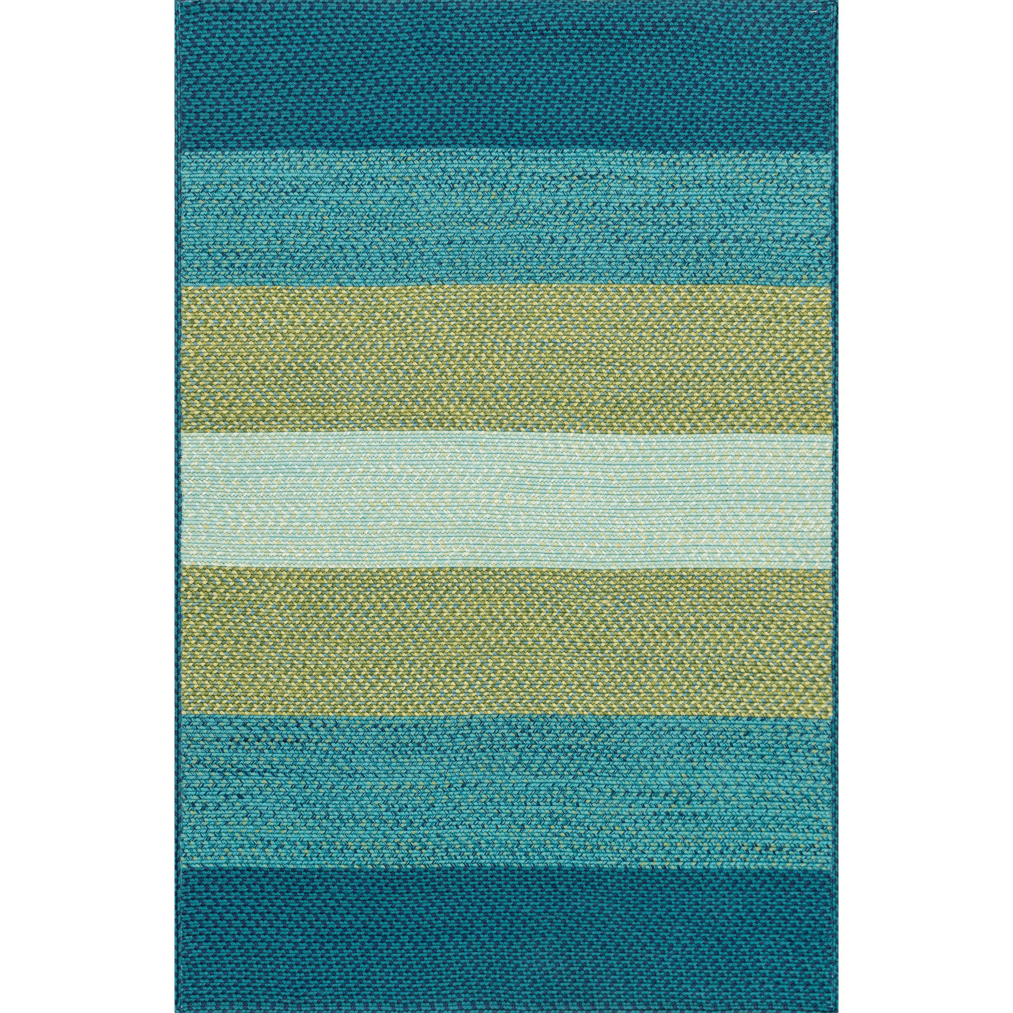 Alexander Home Indoor/ Outdoor Braided Blue/ Green Rug (2'3 x 3'9) (Blue/ Green (2'3 x 3'9)) (Plastic, Stripe)