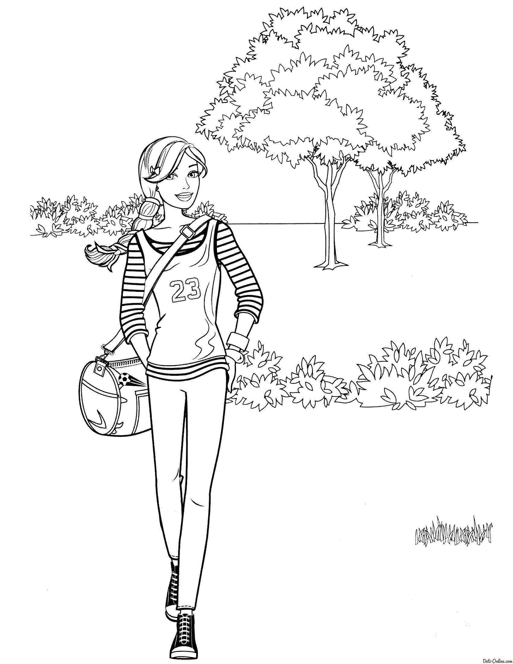 Раскраска Барби на прогулке распечатать или скачать ...