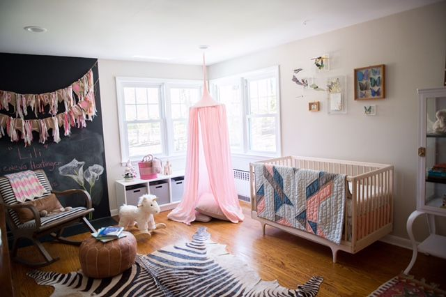 Baby Girl Nursery Inspiration using the Blush Play Canopy from Blue House Joys! Eclectic nursery inspiration featuring a soothing, but playful space for a baby girl. Visit our shop at bluehousejoys.com/shop for more inspiration!