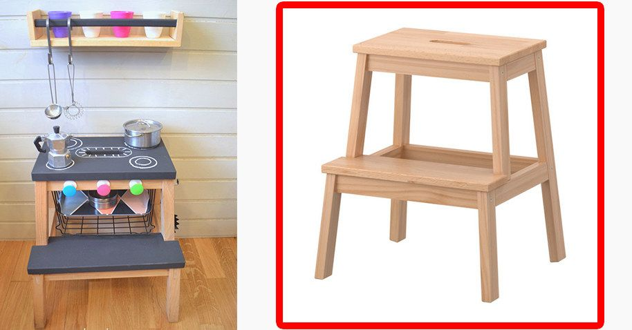Plus The Bekvam Step Stool Can Be Redecorated As A Play Kitchen For The Kiddos 16 Practical Ikea Hacks To Make Your Life All Ikea Step Stool Step Stool Ikea