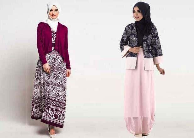 23 Model Gamis Batik Kombinasi Blazer Modern Trendy 2017