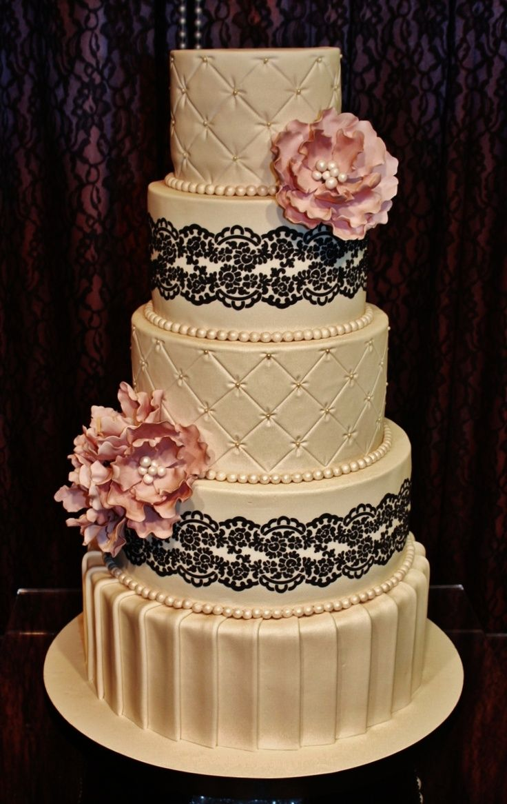Tiered Cake With Black Lace