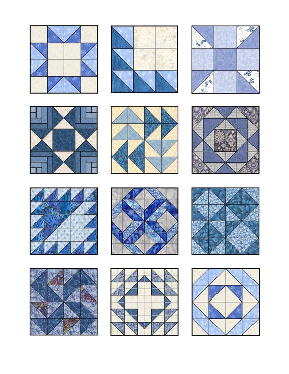 Items similar to Shades of Blue Quilt Blocks Edible Icing Image Sheet on Etsy