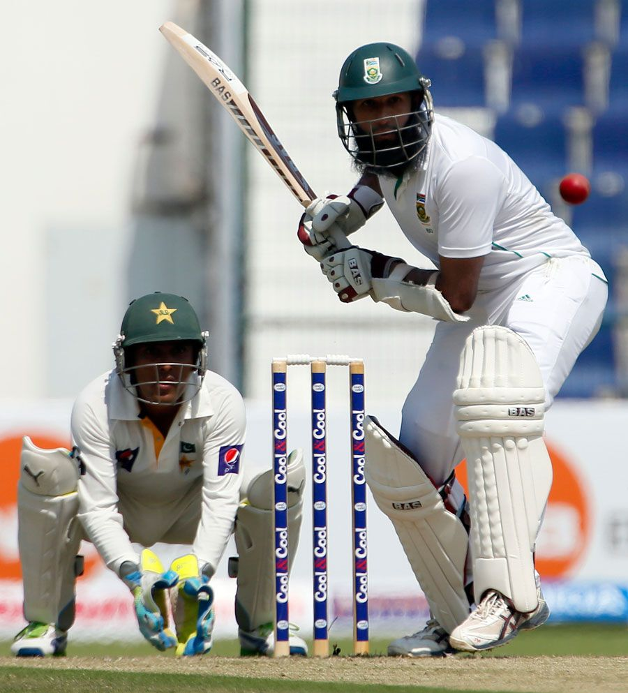 Hashim Amla about to play a stroke, Pakistan v South Africa, 1st