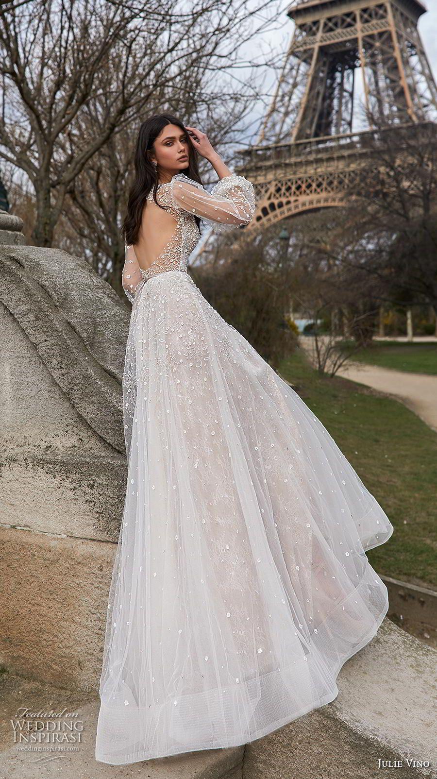 Long sleeve v neck wedding dress  Julie Vino  Wedding Dresses u ucParisud Bridal Collection