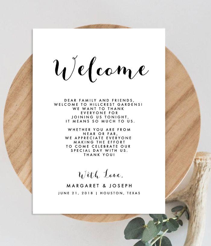 diy editable wedding welcome card  instantly edit