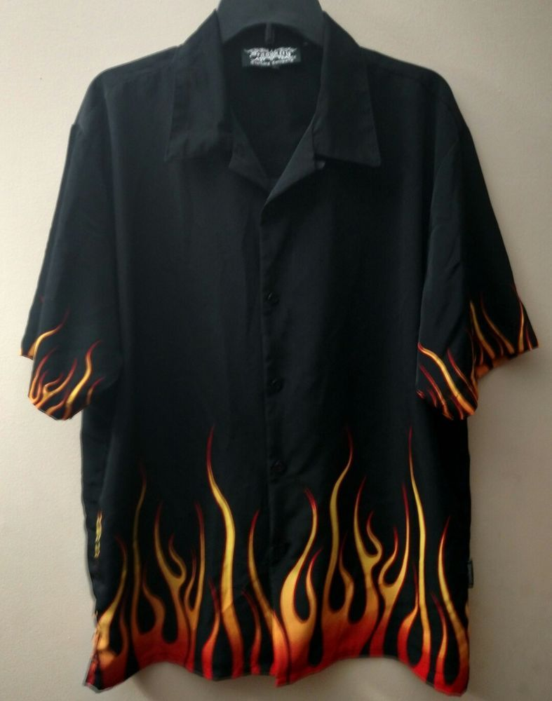 122971f6f Flame Shirt Men's Button up Short Sleeve Size Large Dragonfly Clothing  Company #Dragonfly #ButtonFront