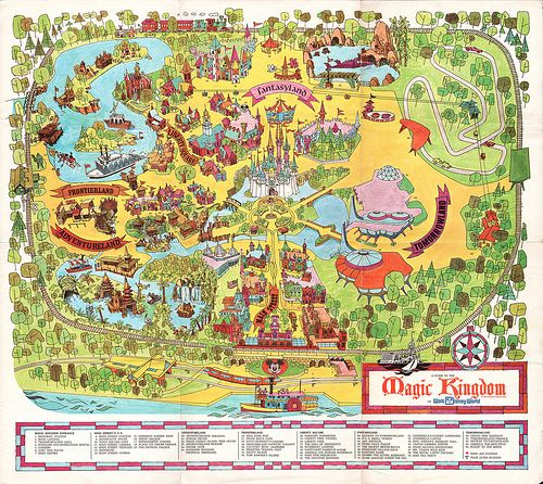 Disney Florida Map.Walt Disney World Souvenir Park Map Orlando Florida 1972
