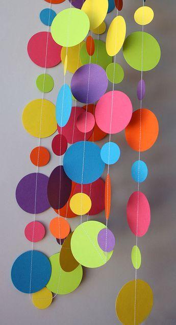 Guirlande de papier d'arc-en-ciel, décorations d'anniversaire, décor de fête d'anniversaire, guirlande de papier de cercle, décor de premier anniversaire, douche de chéri, KC-1090 #katzengeburtstag