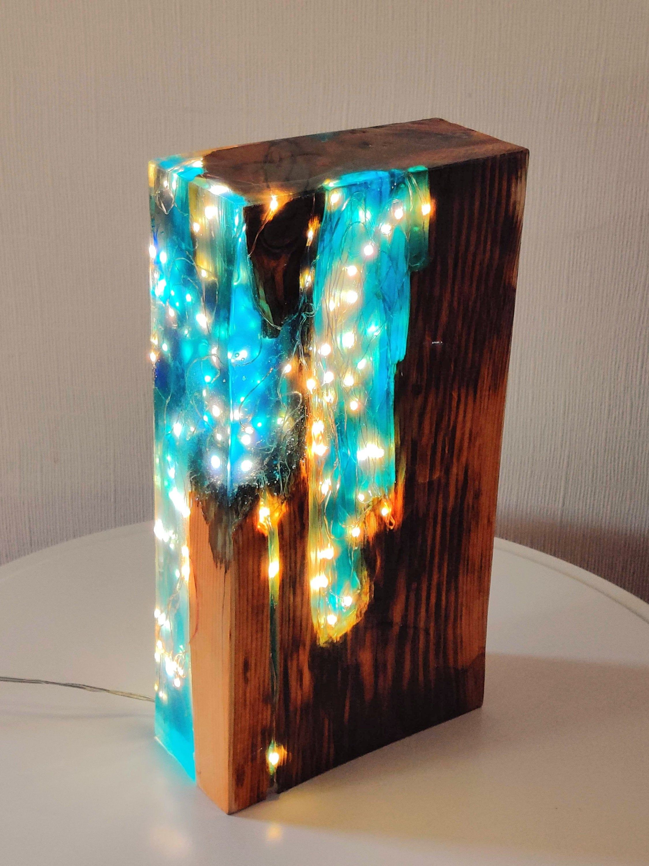 Blue tinted resin Reclaimed Antique Pine Wood Light