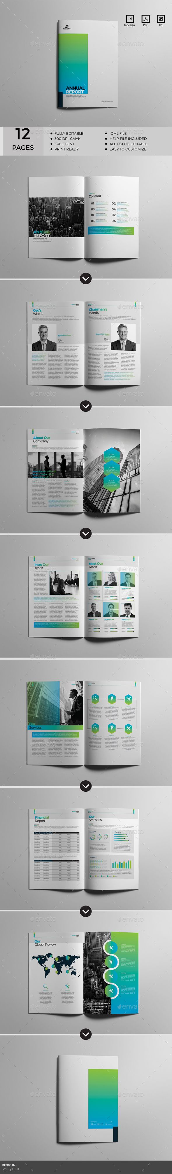 Annual Report Brochure Template InDesign INDD Custom Pages - Custom brochure templates