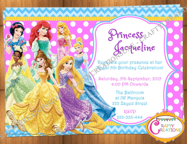 Disney Princess Invitation - Disney Princess Party Invitation - Princesses Birthday Party Invite - Disney Princess Printables - CraftyUAE by CraftyCreationsUAE on Etsy