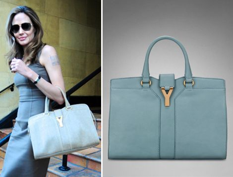 755a001f909 Angelina Jolie's Blue Bag: Yves Saint Laurent Chyc Cabas | ♥YSL ...