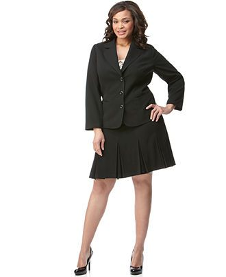7e393896d6d AGB Plus Size Black Stretch Suiting Three Button Jacket   Pleated A-Line  Skirt - Plus Size Sale   Clearance - Plus Sizes - Macy s