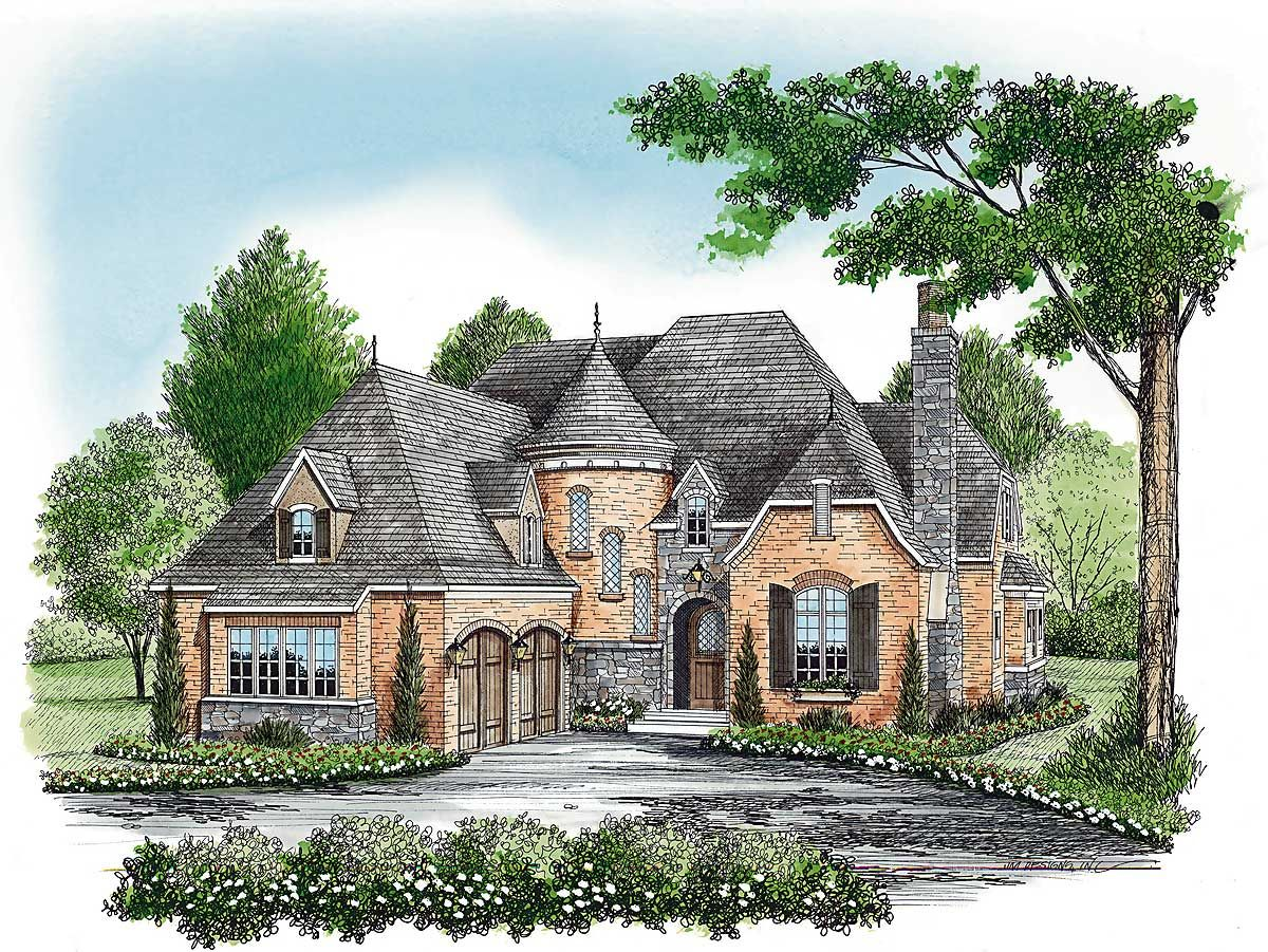 Plan 17587lv Charming European House Plan With Circular Stair In 2020 Cottage Style House Plans Farmhouse Style House Plans Farm Style House