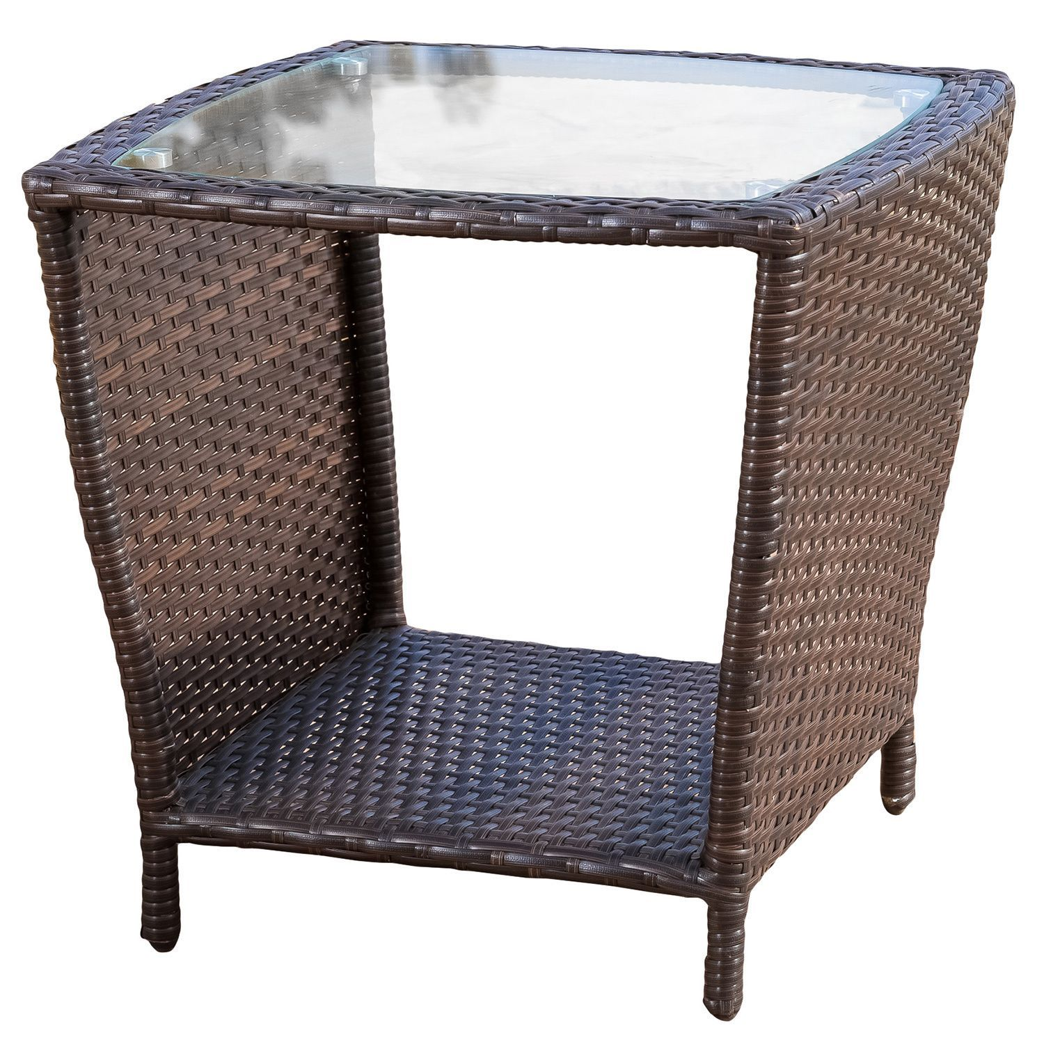 Weston Outdoor Wicker Side Table With Glass Top By Christopher Knight Home Brown Aluminum Wicker Side Table Patio Side Table Glass Top End Tables
