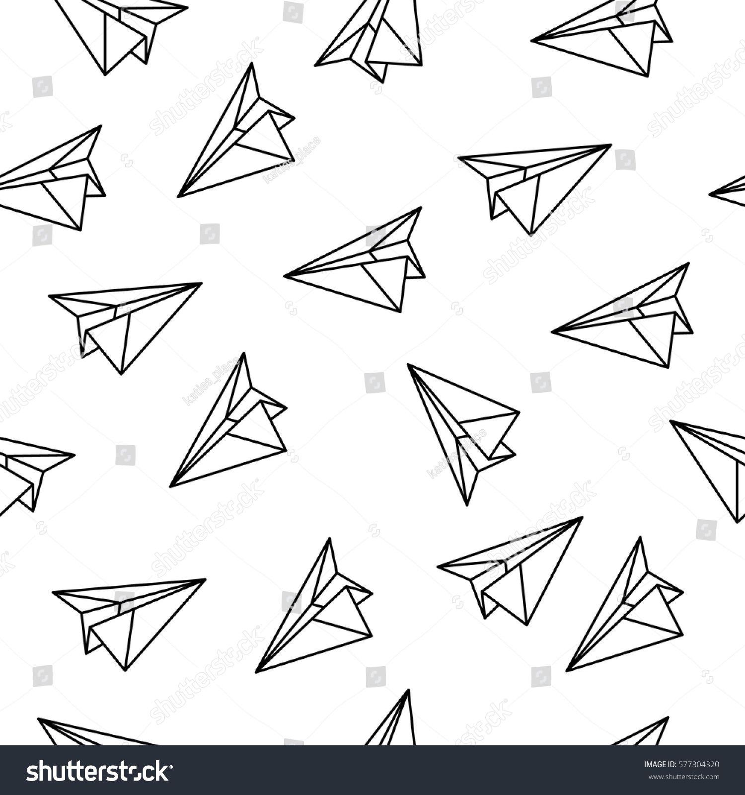 stockvectorseamlesspatternwithorigamiplanespaper