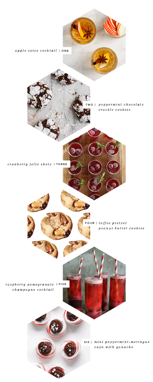 Fabulous K  •  Holiday Cookie + Cocktail Ideas (love this design - like a peek at each of the items)