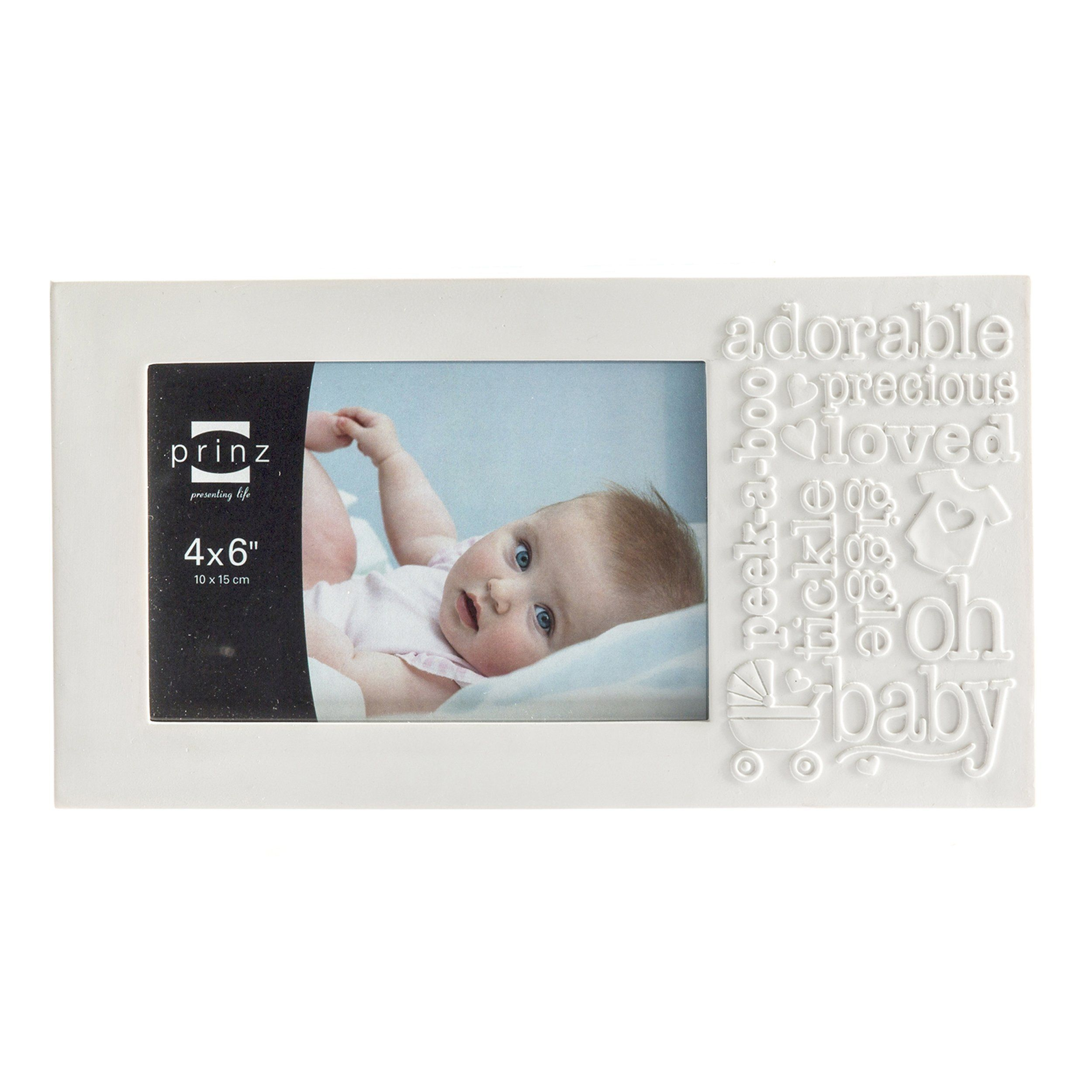 6x4 Bundle of Joy Matte White \'Baby\' Resin Frame