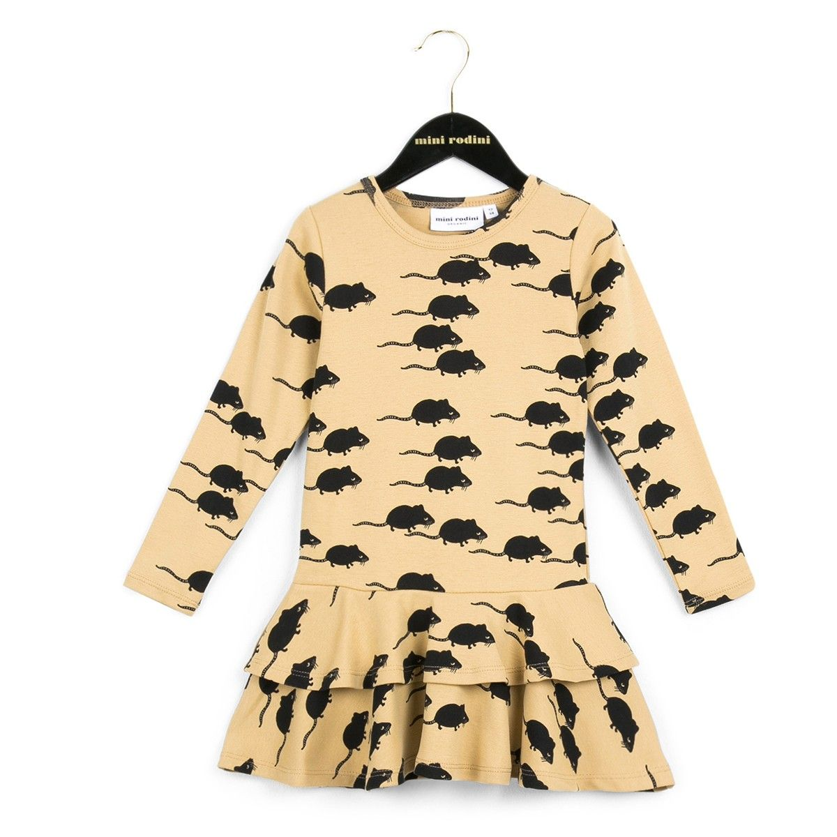 Beige dress with mouse print