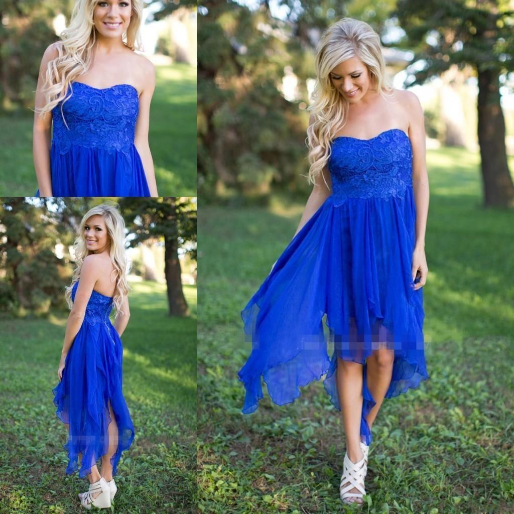 Under elegant royal blue short country bridesmaid dresses lace