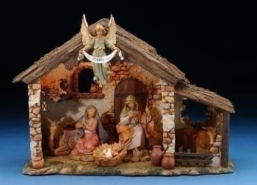 183 00 0 00 Fontanini Lighted Nativity Scene With Italian Stable By Roman Inc Item 54567 For The Font Nativity Scene Display Nativity Set Nativity Stable