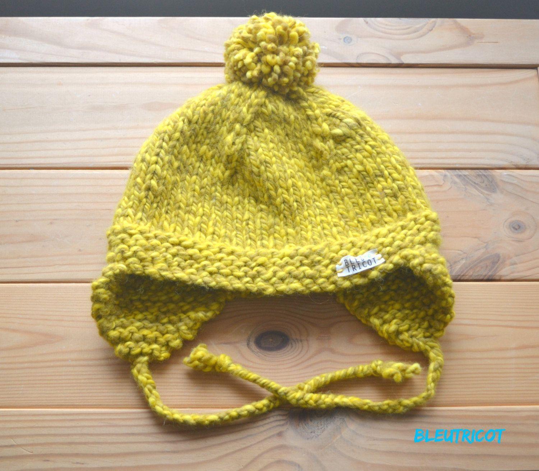 Tuque pour bébé au crochet jaune ca84cf3fa38