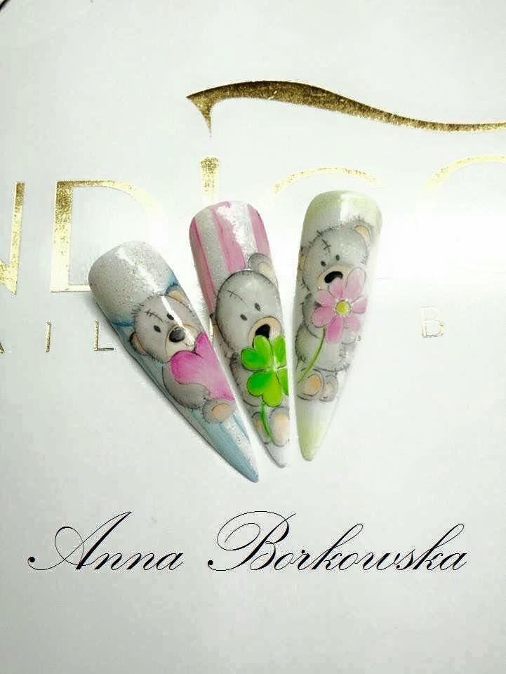 by Anna Michałowska Indigo Educator Radom :) Follow us on Pinterest. Find more inspiration at www.indigo-nails.com #nailart #nails #indigo #nail #art #teddybear #heart