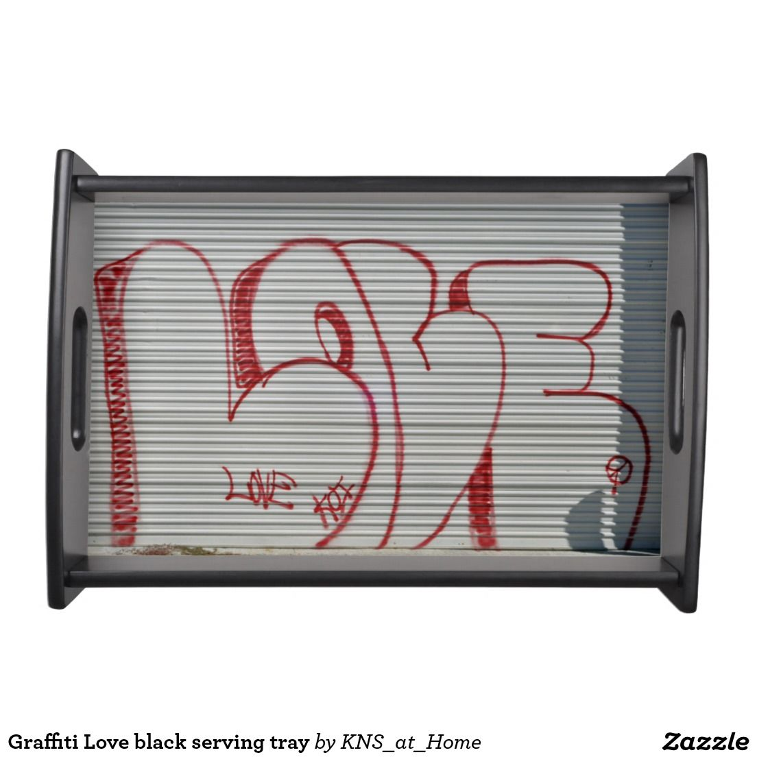 Graffiti Love black serving tray