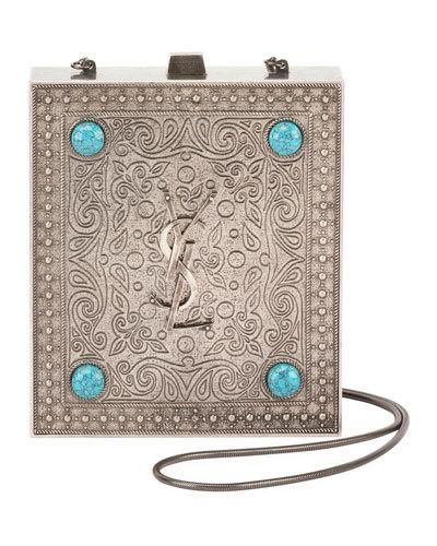 a4d15b72a62 ... Handbags at Neiman Marcus. V3QH6 Saint Laurent Tuxedo Box Minaudiere  with Turquoise-Hued Studs