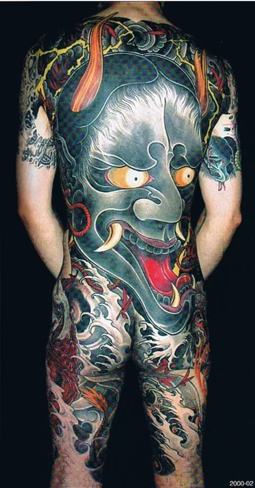 Amazing Japanese Demon Back Tattoo