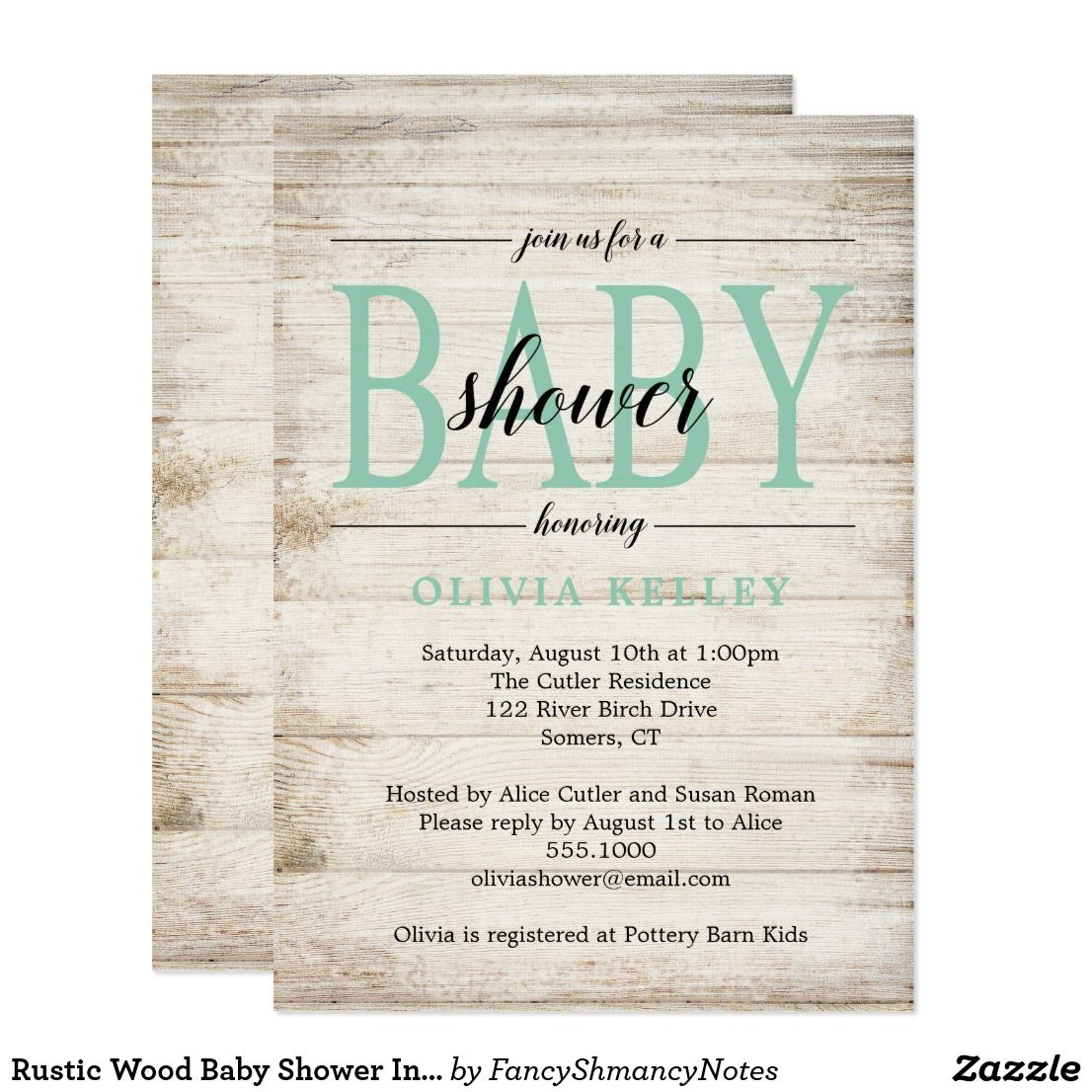 Rustic wood baby shower invitation mint green card shower rustic wood baby shower invitation mint green card filmwisefo