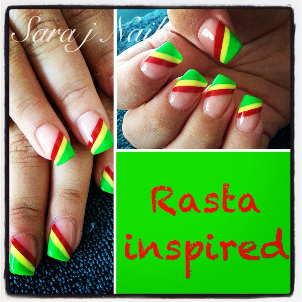 Acrylic Nail Design Rasta Colours | Acrylic | Pinterest