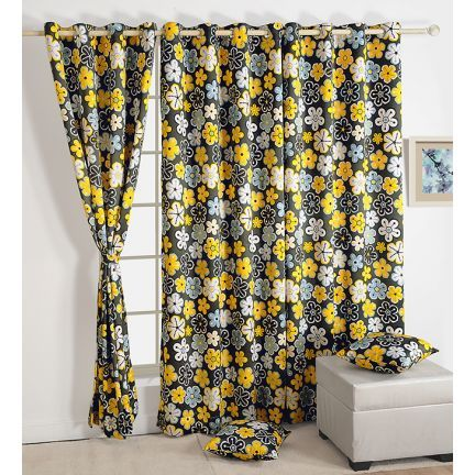 Swayam Premium Printed Sigma Blackout Curtain With Eyelets Grey And Yellow - Go for this grey and yellow colored black out curtain with eyelets from Swayam wherever you want to maintain your privacy. Made of 80% blackout fabric, it is completely opaque on either side.