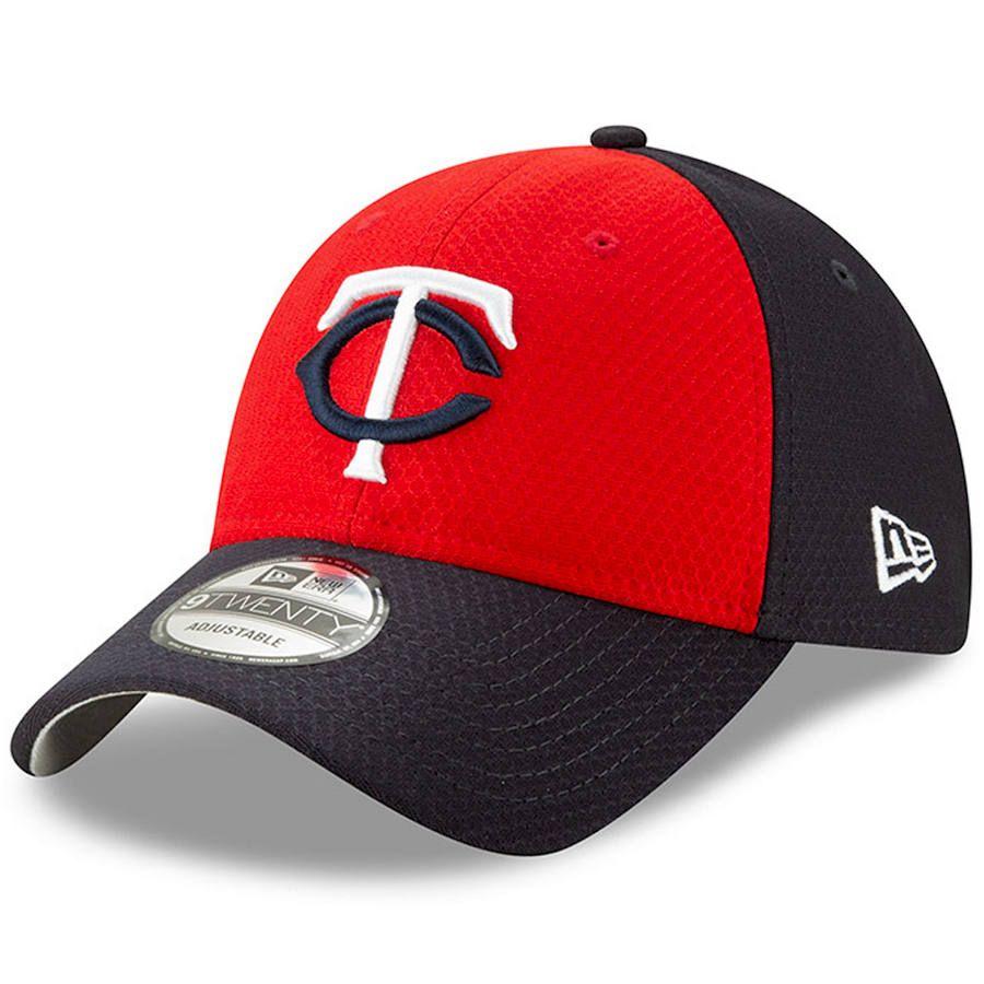 39c10bdf81e Men s Minnesota Twins New Era Red Navy 2019 Batting Practice Road 9TWENTY Adjustable  Hat