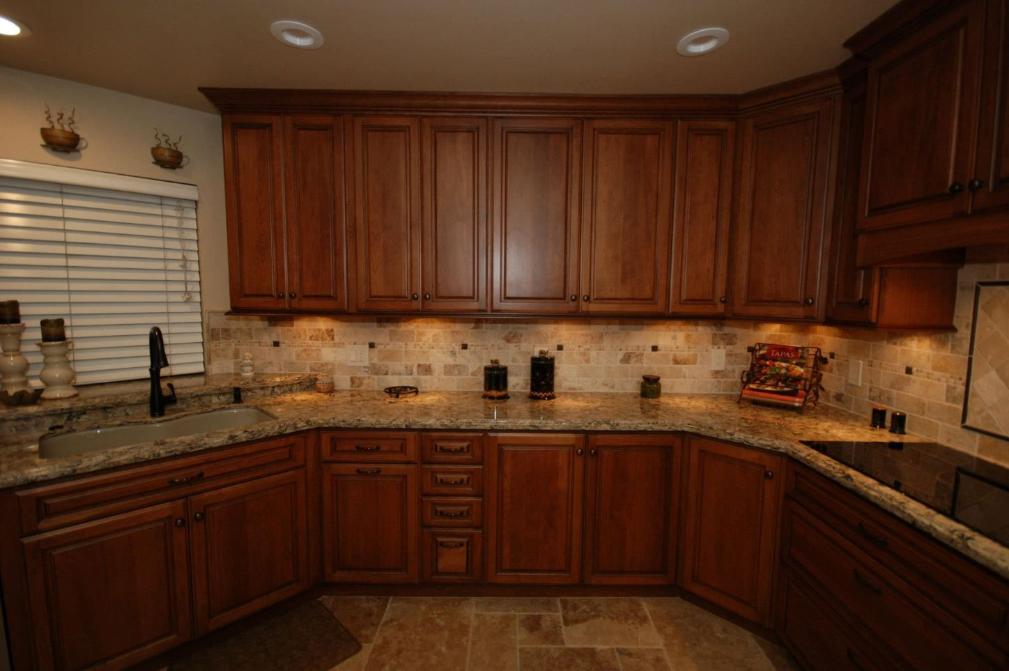 Starmark cherry cabinets with harvest stain and chocolate for Cambrian kitchen cabinets